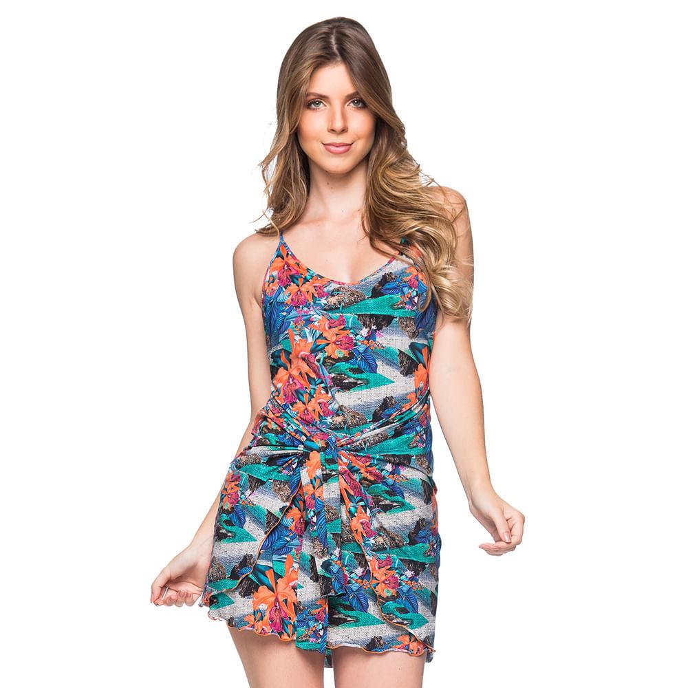 c2cdfd8ec Saída Vestido Amarração Noronha Floral Saidas La Playa 2019 - Meu ...